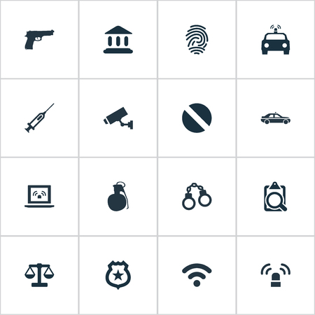 Vector Illustration Set Of Simple Offense Icons. Elements Police Car, Explosive, Justice And Other Synonyms Signal, Flasher And Police.
