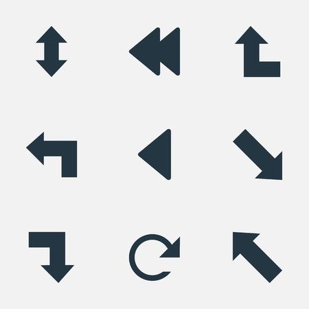 Vector Illustration Set Of Simple Indicator Icons. Elements Circular, Left Landmark , Downward Synonyms Upper, Raising And Falling. Illustration