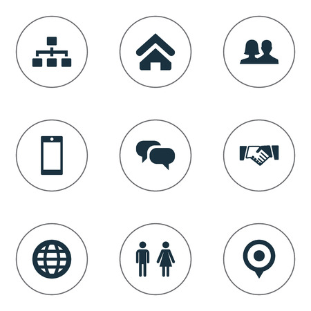 Vector Illustration Set Of Simple Communication Icons. Elements Pin, Partnership, House Location And Other Synonyms Agreement, Talking And Earth.