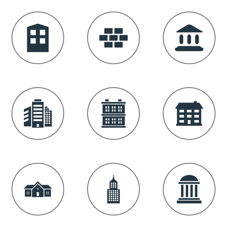 Vector Illustration Set Of Simple Construction Icons. Elements Superstructure, Stone, Residence And Other Synonyms Domicile, Hut And Edifice. Illustration