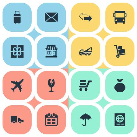 Conjunto de ilustração vetorial de ícones de simples rendição. Elementos Holdall, portador de bagagem, presente e outra sinônimos de companhia aérea, Holdall e carrinho.