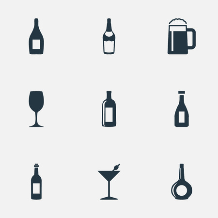 Illustration Set Of Simple Beverage Icons. Elements Champagne, Ketchup, Glassware And Other Synonyms Pint, Wine And Liquor.