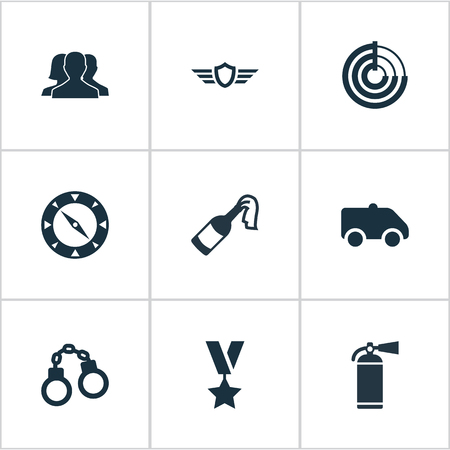 Vector Illustration Set Of Simple Battle Icons. Elements Manacles, Extinguisher, Outcast And Other Synonyms Prison, Smother And Individual. Illustration