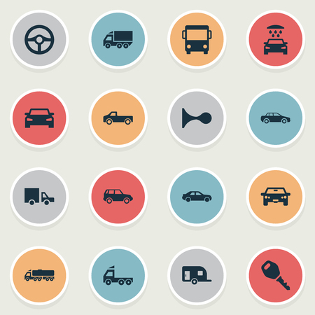 bogie: Vector Illustration Set Of Simple Auto Icons. Elements Tour Bus, Steering Wheel, Traffic And Other Synonyms Cargo, Steering And Key.