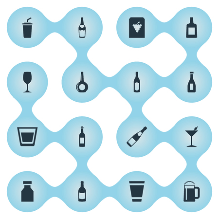 Vector Illustration Set Of Simple Water Icons. Elements Glassware, Wine, Liquor And Other Synonyms Whiskey, Drugs And Liquor.