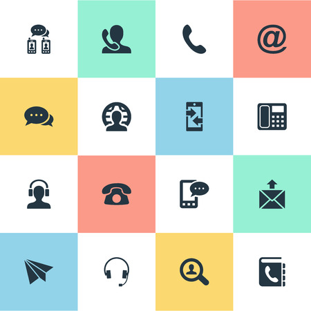 Vector Illustration Set Of Simple Communication Icons. Elements Intercommunication, E-Mail Symbol, Telephone Switchboard And Other Synonyms Mail, Talking And Outgoing.