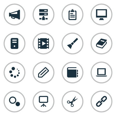 Vector Illustration Set Of Simple Web Icons. Elements Movie, Tag, Settings And Other Synonyms Slideshow, Presentation And Catalog.