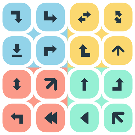 Vector Illustration Set Of Simple Cursor Icons. Elements Rearward, Pointer, Down Up And Other Synonyms Growing, Arrow And Backward.