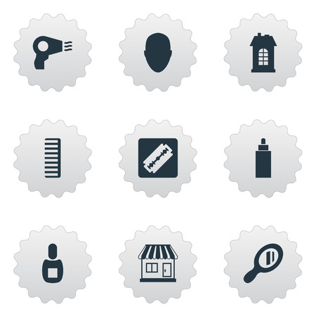 Vector Illustration Set Of Simple Beautician Icons. Elements Container, Flask, Supermarket And Other Synonyms Shop, Glass And Razor.