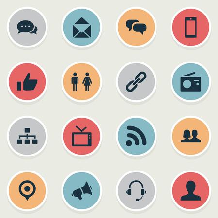 벡터 일러스트 레이 션 간단한 네트워크 아이콘의 집합입니다. 요소 구조, 웨이브, 확성기 및 기타 동의어 링크, 투표 및 직원.