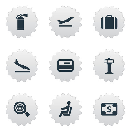 Vector Illustration Set Of Simple Travel Icons. Elements Credit Card, Alighting Plane, Flight Control Tower And Other Synonyms Suitcase, Seat And Fly. 일러스트