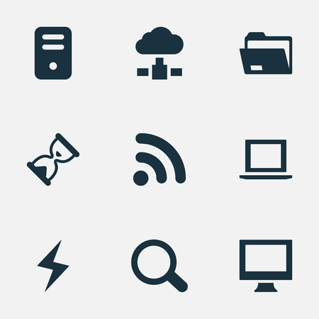Vector Illustration Set Of Simple Notebook Icons. Elements System Unit, Hourglass, Battery And Other Synonyms Wireless, Monitor And Loading. Illustration
