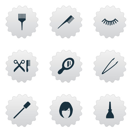 Vector Illustration Set Of Simple Beauty Icons. Elements Pincers, Crest, Barbershop And Other Synonyms Coloring, Eyebrow And Bottle. Illustration