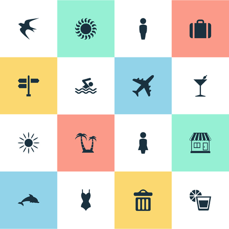 Vector Illustration Set Of Simple Beach Icons. Elements Male, Beverage, Store And Other Synonyms Aquatic, Junction And Freedom. Illustration