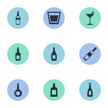 Vector Illustration Set Of Simple Drinks Icons. Elements Ketchup, Cup, Martini And Other Synonyms Brandy, Champagne And Glass.