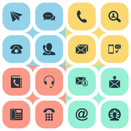 telephone icons: Vector Illustration Set Of Simple Contact Icons. Elements Telephone Switchboard, Telephone, New-Come Letter And Other Synonyms Book, House And Symbol.