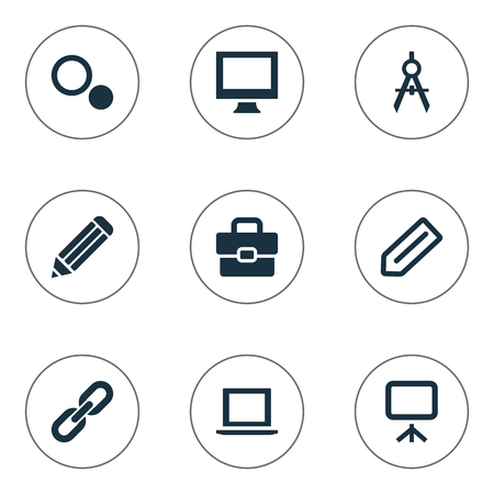 Vector Illustration Set Of Simple UI Icons. Elements Settings, Tag, Board And Other Synonyms Choice, Settings And Handbag.