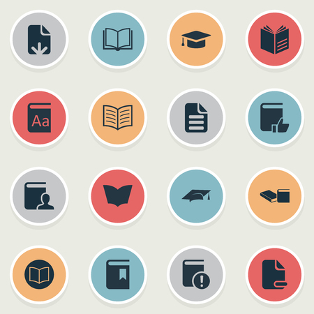Vector Illustration Set Of Simple Education Icons. Elements Information, Reading, Letter And Other Synonyms Open, Alphabet And Important. Illustration