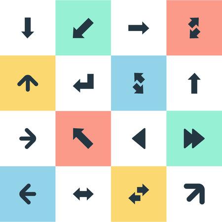 벡터 일러스트 레이 션 간단한 표시기 아이콘의 집합입니다. 요소 오른쪽 방향, 왼쪽 지시, 반전 및 다른 동의어 위쪽, 위쪽 및 아래쪽 왼쪽 방향 지정.