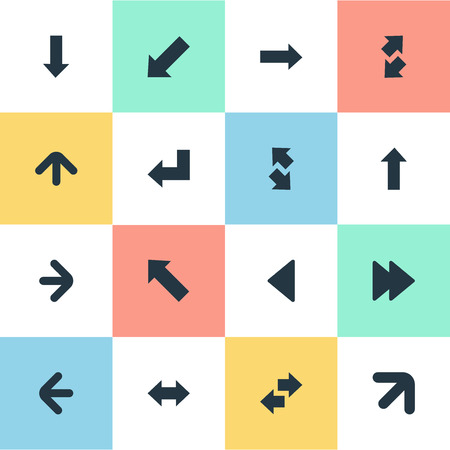 upwards: Vector Illustration Set Of Simple Indicator Icons. Elements Right Direction, Left Indication, Reverse And Other Synonyms Upwards, Up And Down Left Pointing. Illustration