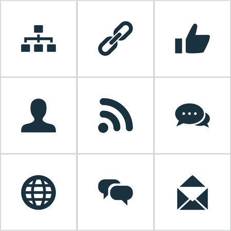 벡터 일러스트 레이 션 간단한 통신 아이콘의 집합입니다. 요소 엄지 손가락, 대화, 웨이브 및 기타 동의어 대화 상자, 신호 및 링크. 일러스트