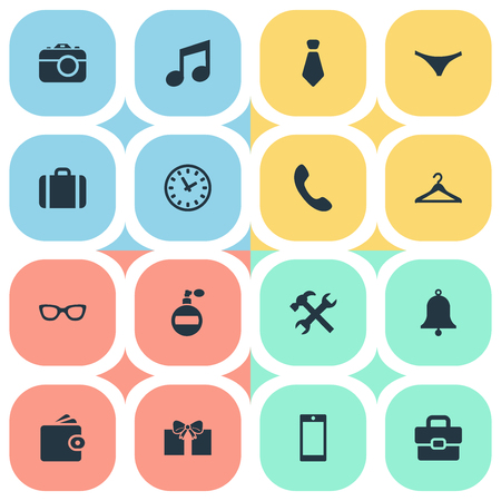 suspender: Vector Illustration Set Of Simple  Icons. Elements Hanger, Mobile Phone, Underwear And Other Synonyms Sunglasses, Musical And Music.