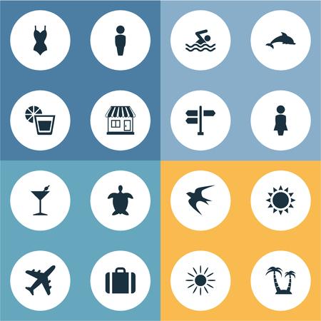 Vector illustratie Set van eenvoudige strand pictogrammen. Elements Hot, Cocktail, Suitcase and Other Synoniemen Pool, Seagull And Turtle. Stock Illustratie