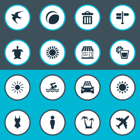 Vector Illustration Set Of Simple Seaside Icons. Elements Tortoise, Beverage, Store And Other Synonyms House, Crossroad And Sea.