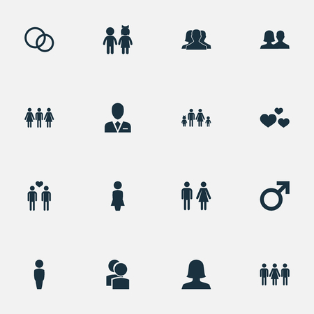 Vector Illustration Set Of Simple Lovers Icons. Elements Alternative, Spouse, Lineage And Other Synonyms Love, Woman And Barrister.