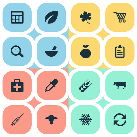 winter wheat: Vector Illustration Set Of Simple Agricultural Icons. Elements Virus, Sack, Calculator And Other Synonyms Snow, Plant And Cart. Illustration