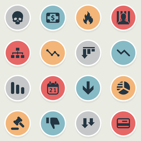 Vector Illustration Set Of Simple Crisis Icons. Elements Round Graph, Line Chart, Net And Other Synonyms Network, Law And Court.