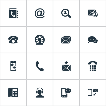 Vector Illustration Set Of Simple Connect Icons. Elements Postage, Telephone Directory, Telephone And Other Synonyms Directory, House And Career.