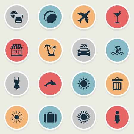 Vector Illustration Set Of Simple Seaside Icons. Elements Beverage, Garbage, Sunlight And Other Synonyms Bar, Trip And Luggage.