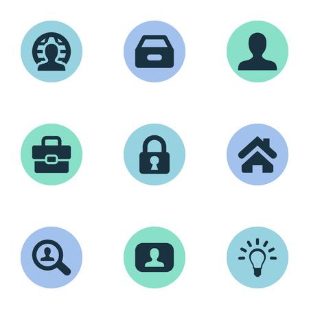 벡터 일러스트 레이 션 간단한 작업 아이콘의 집합입니다. 요소 익명, 서류, 집 및 다른 동의어 램프, 서류 및 돋보기입니다.