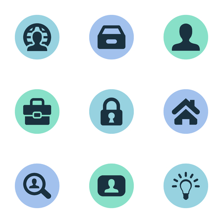 Vector Illustration Set Of Simple Job Icons. Elements Anonymous, Dossier, Home And Other Synonyms Lamp, Dossier And Magnifier.