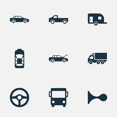 bogie: Vector Illustration Set Of Simple Automobile Icons. Elements Caravan, Klaxon, Haulage And Other Synonyms Van, Tuning And Carriage.