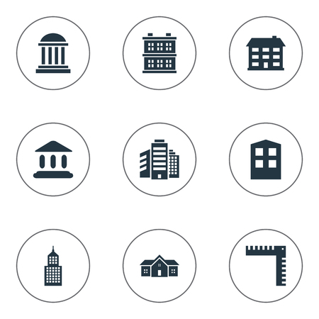 Vector Illustration Set Of Simple Structure Icons. Elements Superstructure, Residence, Length And Other Synonyms Building, Length And Home.