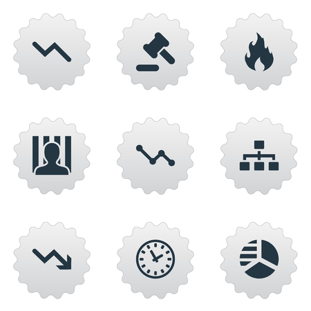 impasse: Vector Illustration Set Of Simple Trouble Icons. Elements Downward, Round Graph, Tribunal And Other Synonyms Diagram, Time And Net.