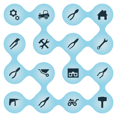 Vector Illustration Set Of Simple Axe Icons. Elements Construction, Workshop, Wrench And Other Synonyms Load, Mechanical And Drill.