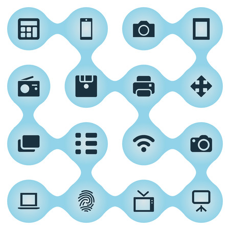 Vector Illustration Set Of Simple Hardware Icons. Elements Schedule, Laptop, Adding Device And Other Synonyms Presentation, Arrow And Tv.