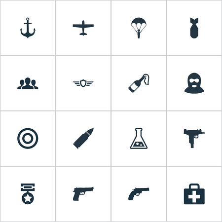 maritime accident: Vector Illustration Set Of Simple Battle Icons. Elements Paratrooper, Molotov, Chemistry And Other Synonyms Paratrooper, Target And Uzi.