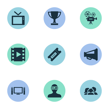 Vector Illustration Set Of Simple Cinema Icons. Elements Megaphone, Pass, Reel And Other Synonyms Retro, Movie And Cinema.
