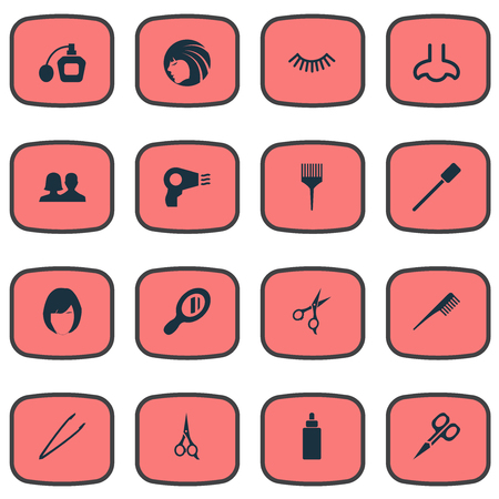 pincers: Vector Illustration Set Of Simple Spa Icons. Elements Serum, Pincers, Barber Tool And Other Synonyms Scissors, Perume And Haircut.