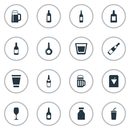 Vector Illustration Set Of Simple Water Icons. Elements Plastic Mug, Liquor, Wine And Other Synonyms Grape, Container And Coffee.