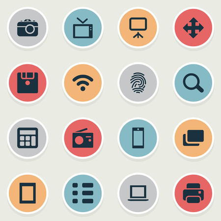 Vector Illustration Set Of Simple Hardware Icons. Elements Projector, Search, Move And Other Synonyms Document, Board And Smartphone.