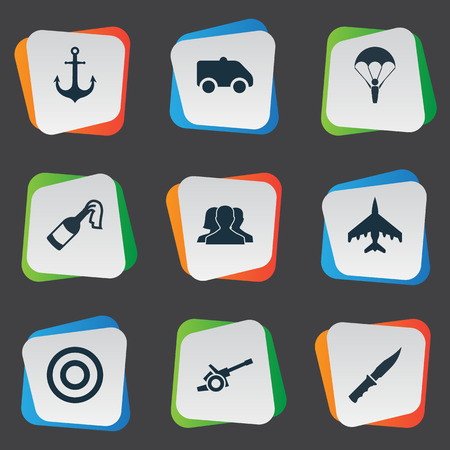 Vector Illustration Set Of Simple Battle Icons. Elements Outcast, Target, Cold Weapon And Other Synonyms Weapon, Emergency And Bomb.