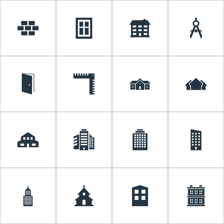 Vector Illustration Set Of Simple Architecture Icons. Elements Shelter, Gate, Superstructure And Other Synonyms Superstructure, Building And Length.