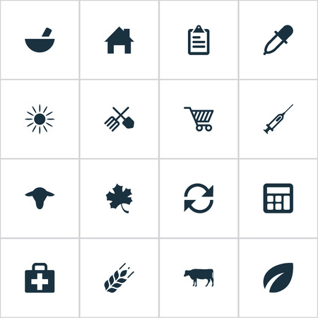 Vector Illustration Set Of Simple Harvest Icons. Elements Wheat, Cow, Ranch Home And Other Synonyms Local, Horticulture And Cart.