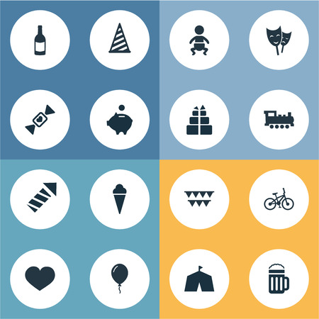 Vector Illustration Set Of Simple Birthday Icons. Elements Aerostat, Beverage, Decorations And Other Synonyms Decorations, Party And Tent.