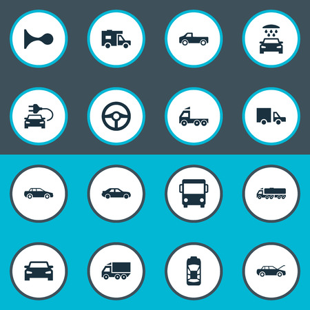 camion: Vector Illustration Set Of Simple Car Icons. Elements Haulage, Driving, Carriage And Other Synonyms Public, Auto And Vehicle.
